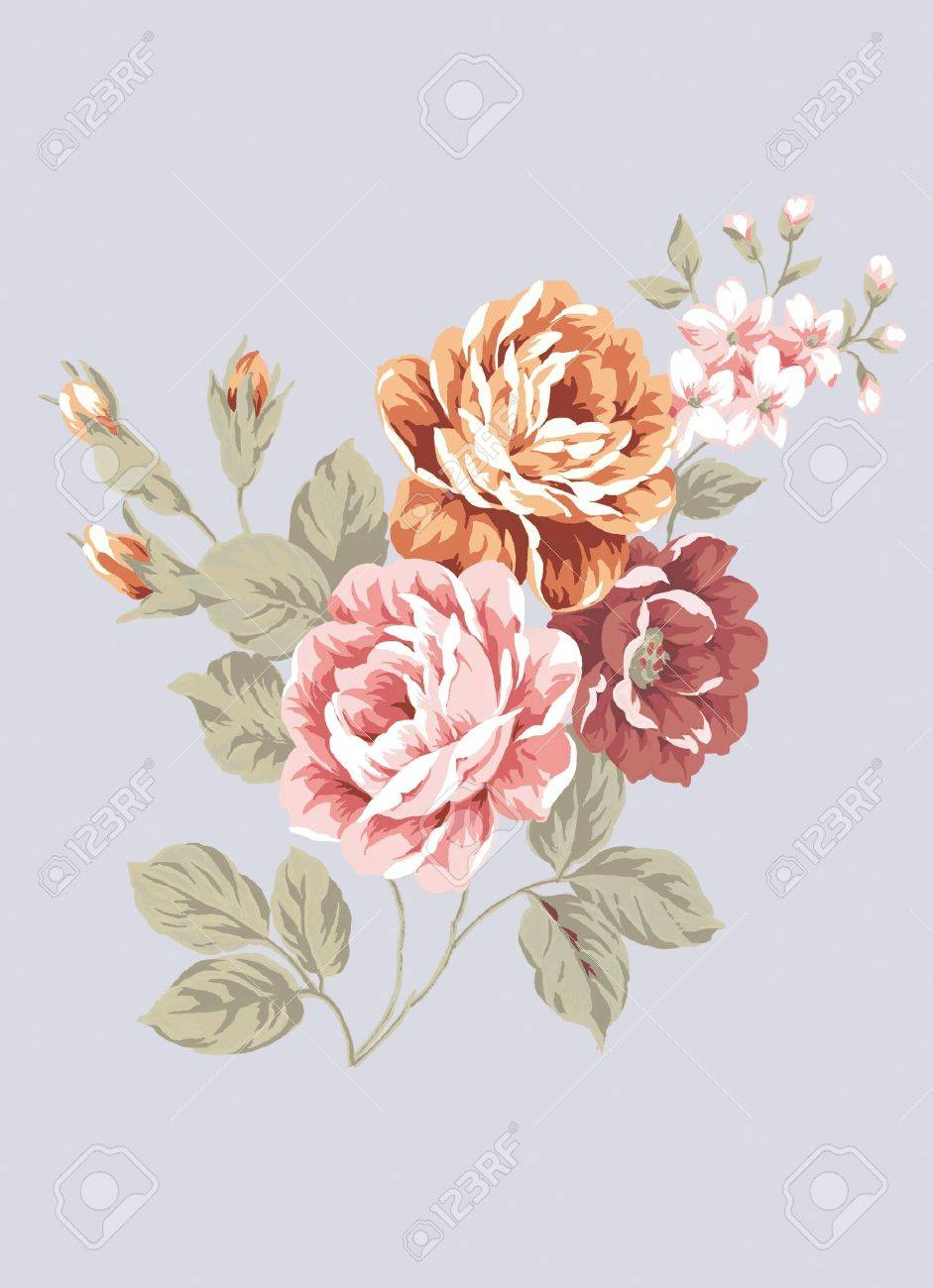 hand drawn - beautiful Rose bouquet design with Simple background Stock Photo - 8899669