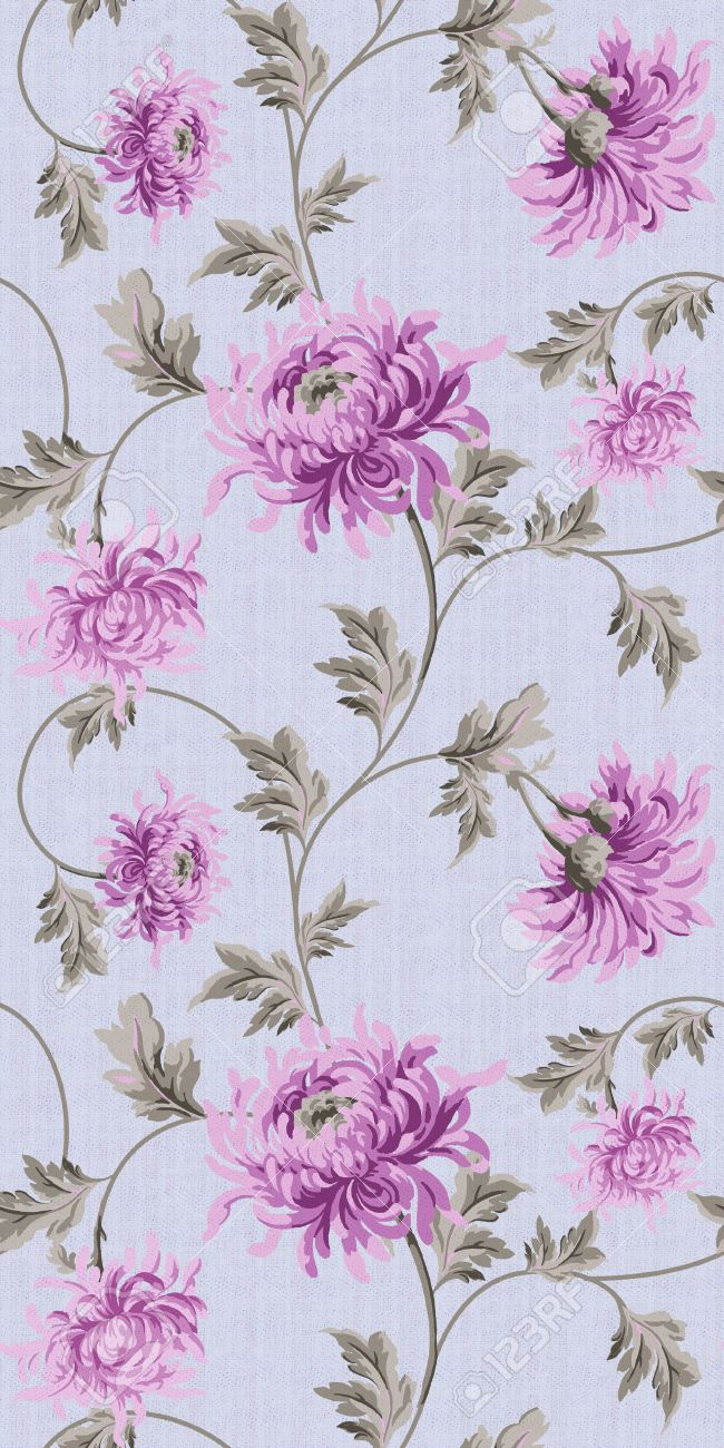 Seamless Floral Background Purple Stock Photo