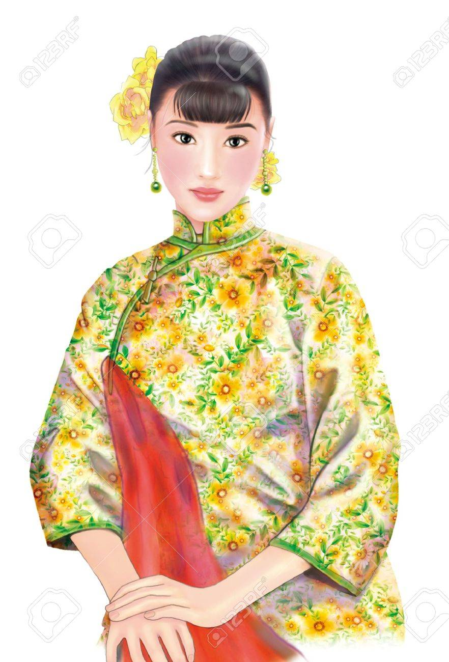 3D Drawing 1930s Old Style Chinese Woman 058 Stock Photo