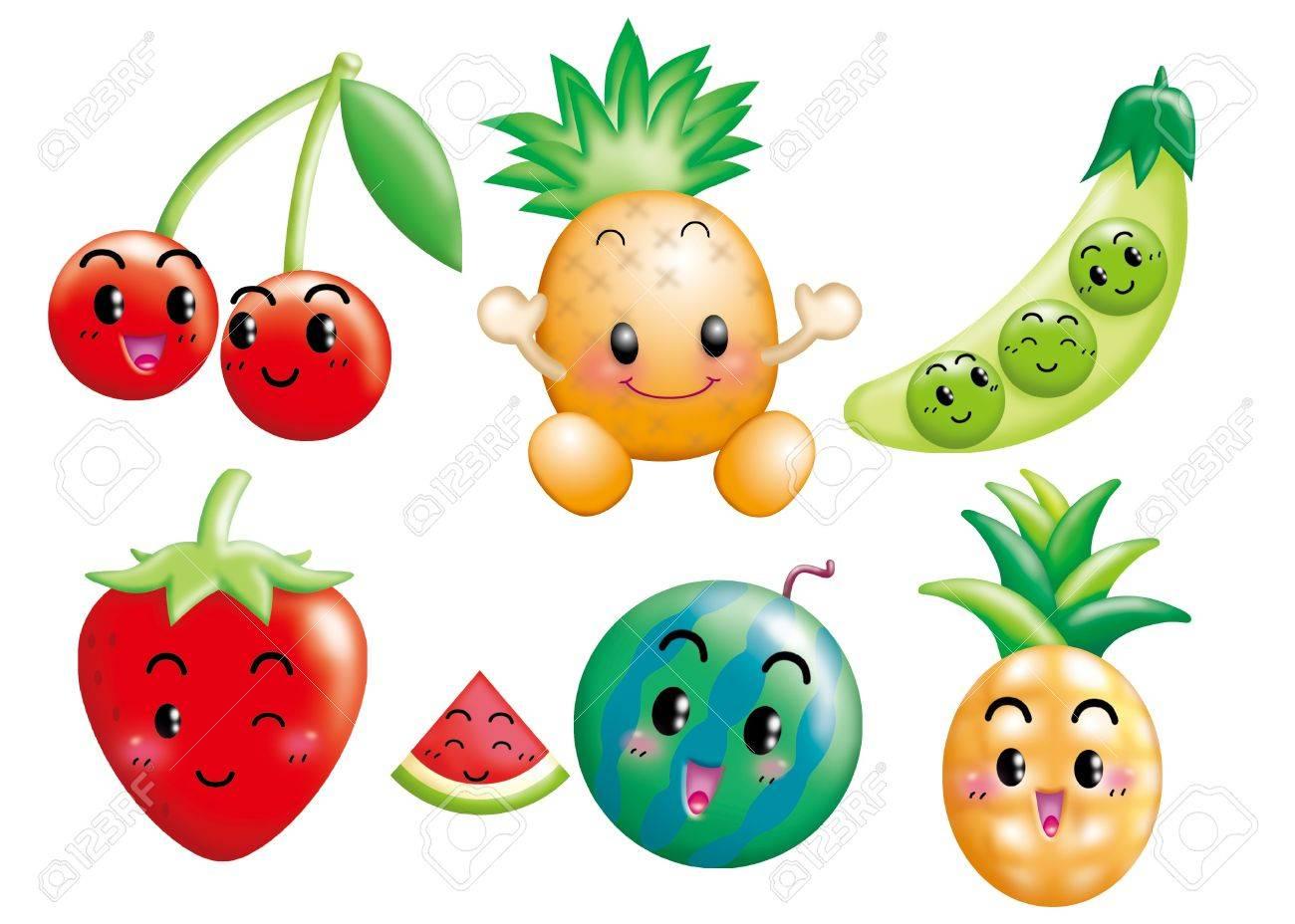 Cute cartoon design elements set -fruit, vegetable Stock Photo - 9003072