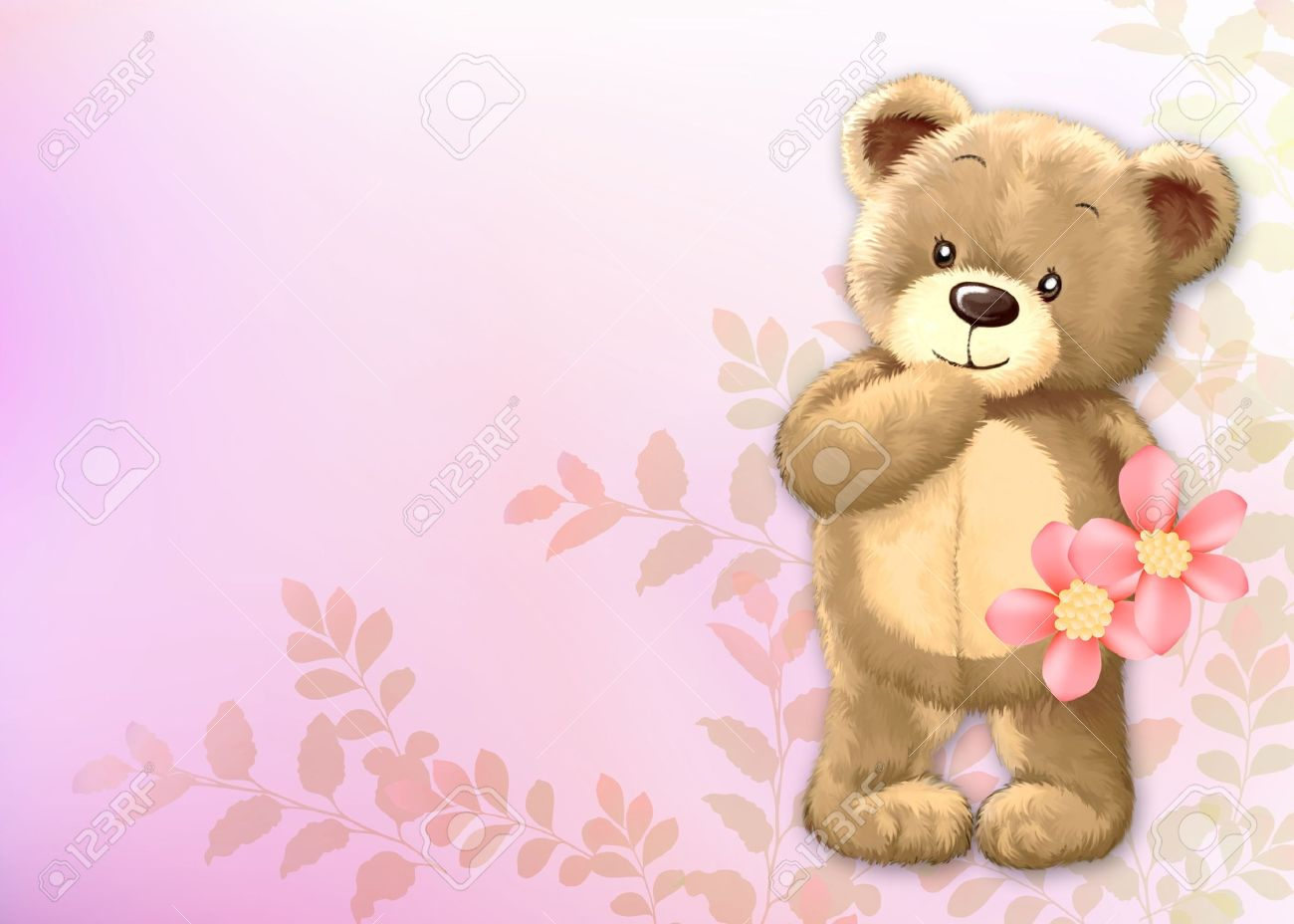 cute teddy bear by freehand drawing 01 stock photo picture and