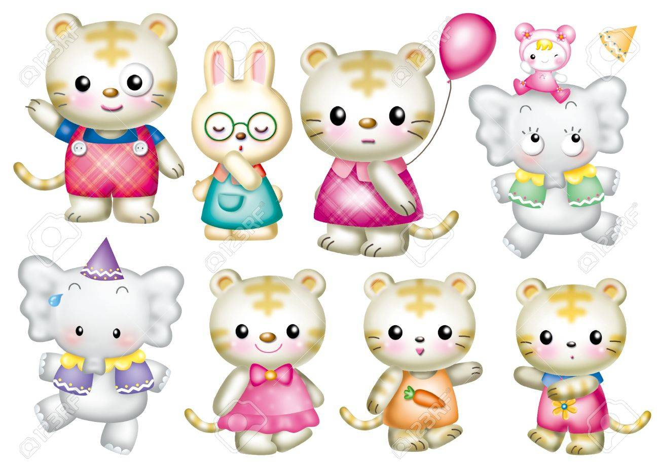 Cute cartoon design elements set - animal Stock Photo - 9530394