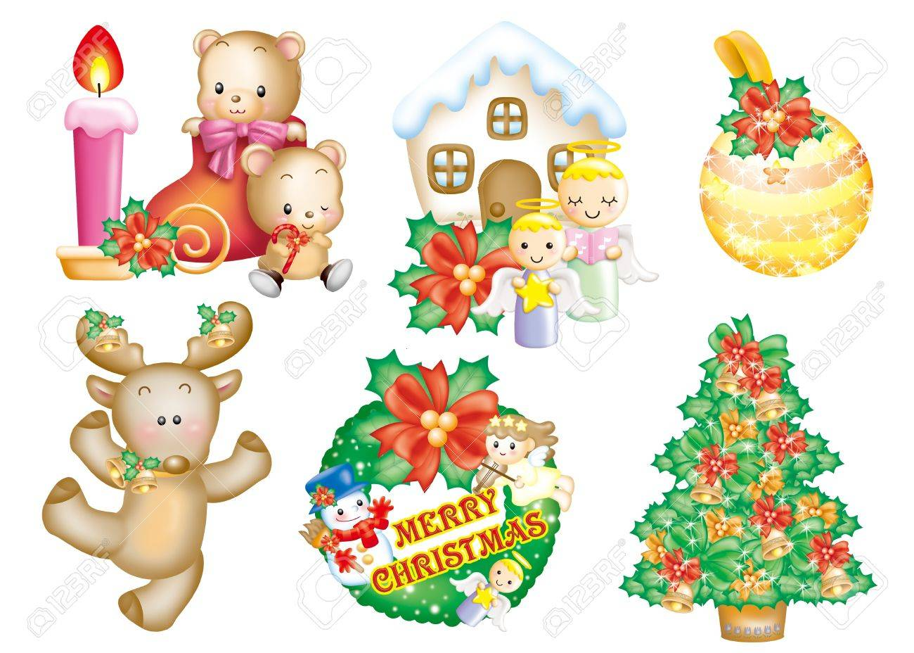 Cute cartoon design elements set - Christmas Stock Photo - 9530416