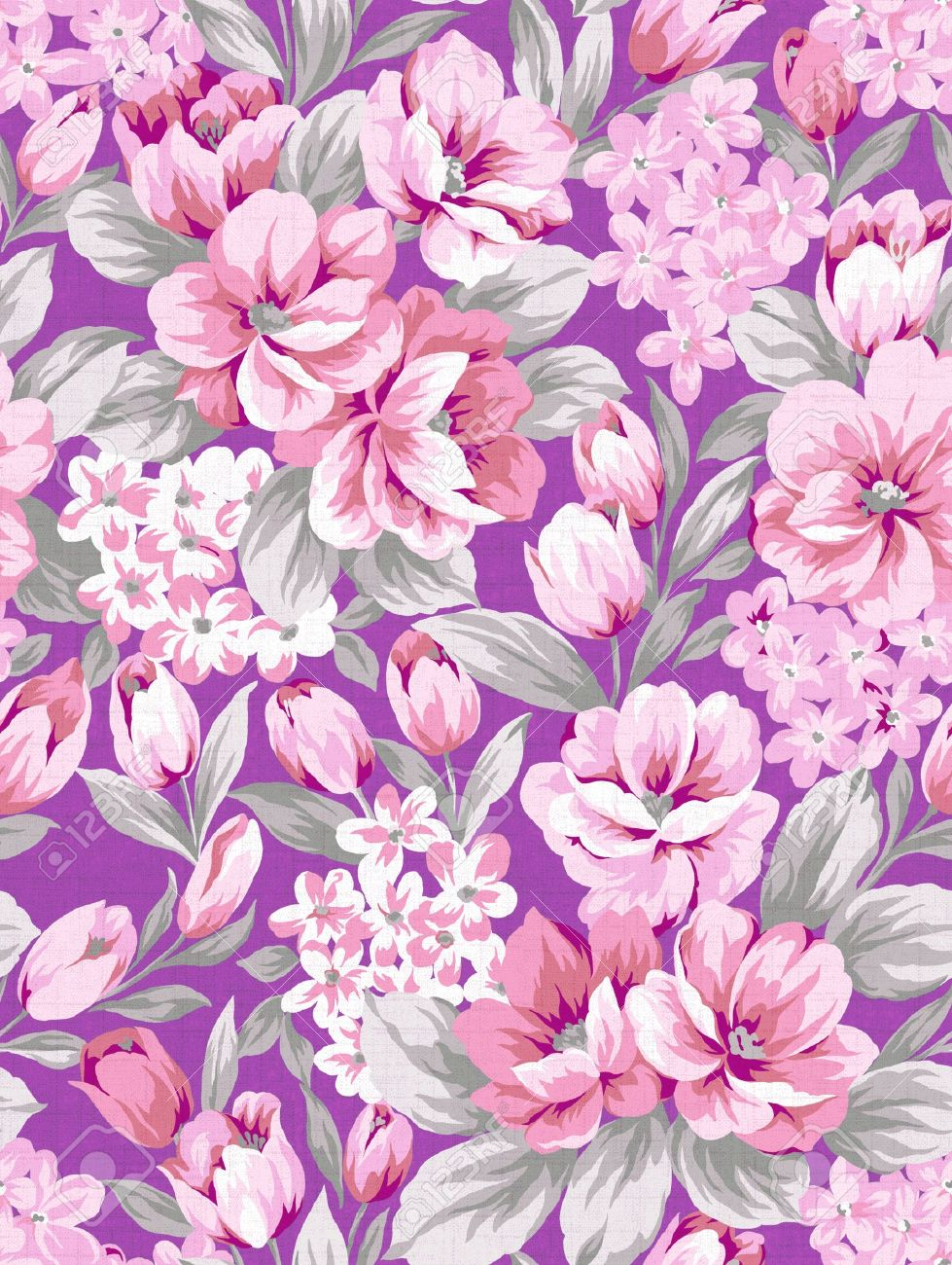 Purple Flower Background Seamless Pink Design Pattern Stock Photo