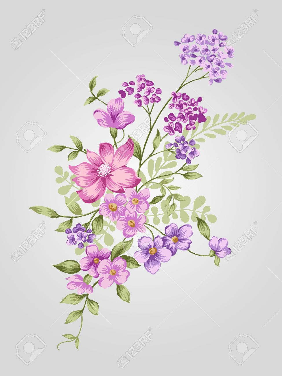 Beautiful Flower Bouquet Design Simple Background Stock Photo