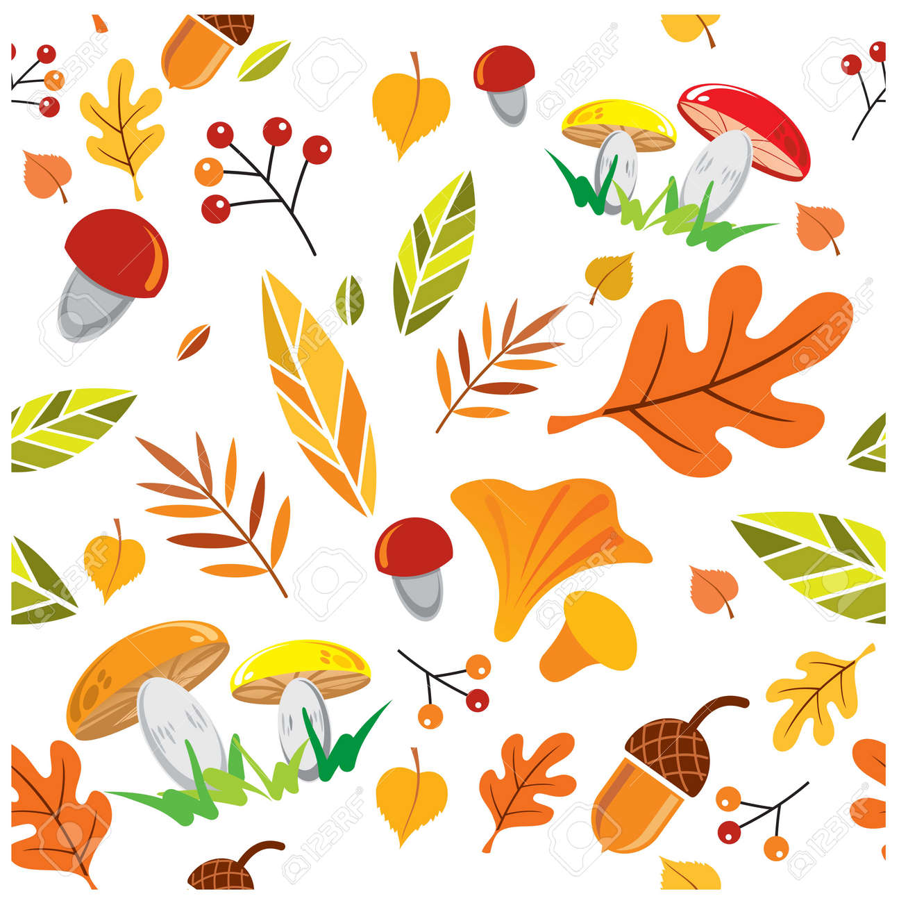 vector seamless autumn pattern, leaves, berries, mushrooms on white background - 153330588
