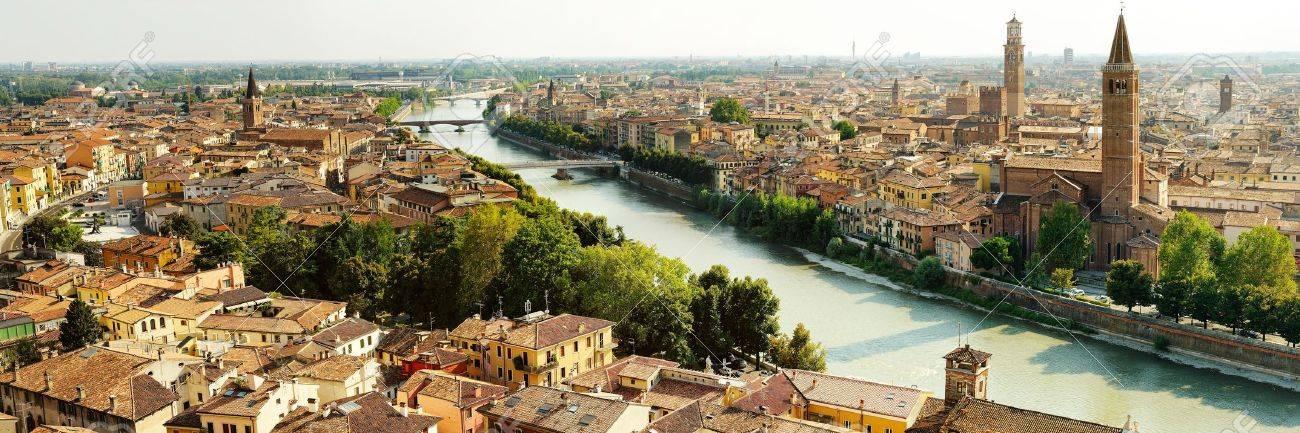 beautiful panoramic view of Verona and bridges - 18090913