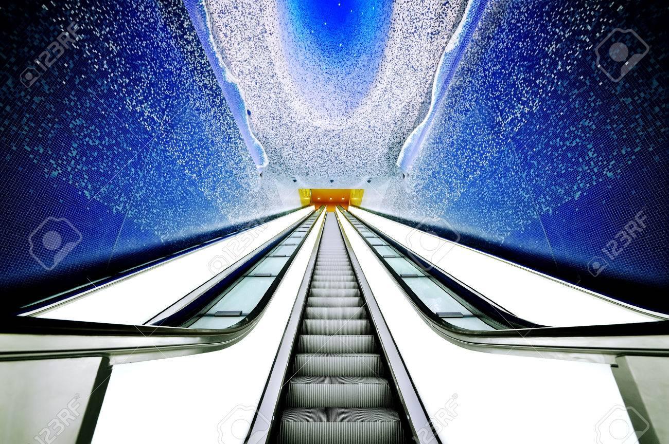 Naples subway escalators beautiful view, Toledo station, Italy - 29296767