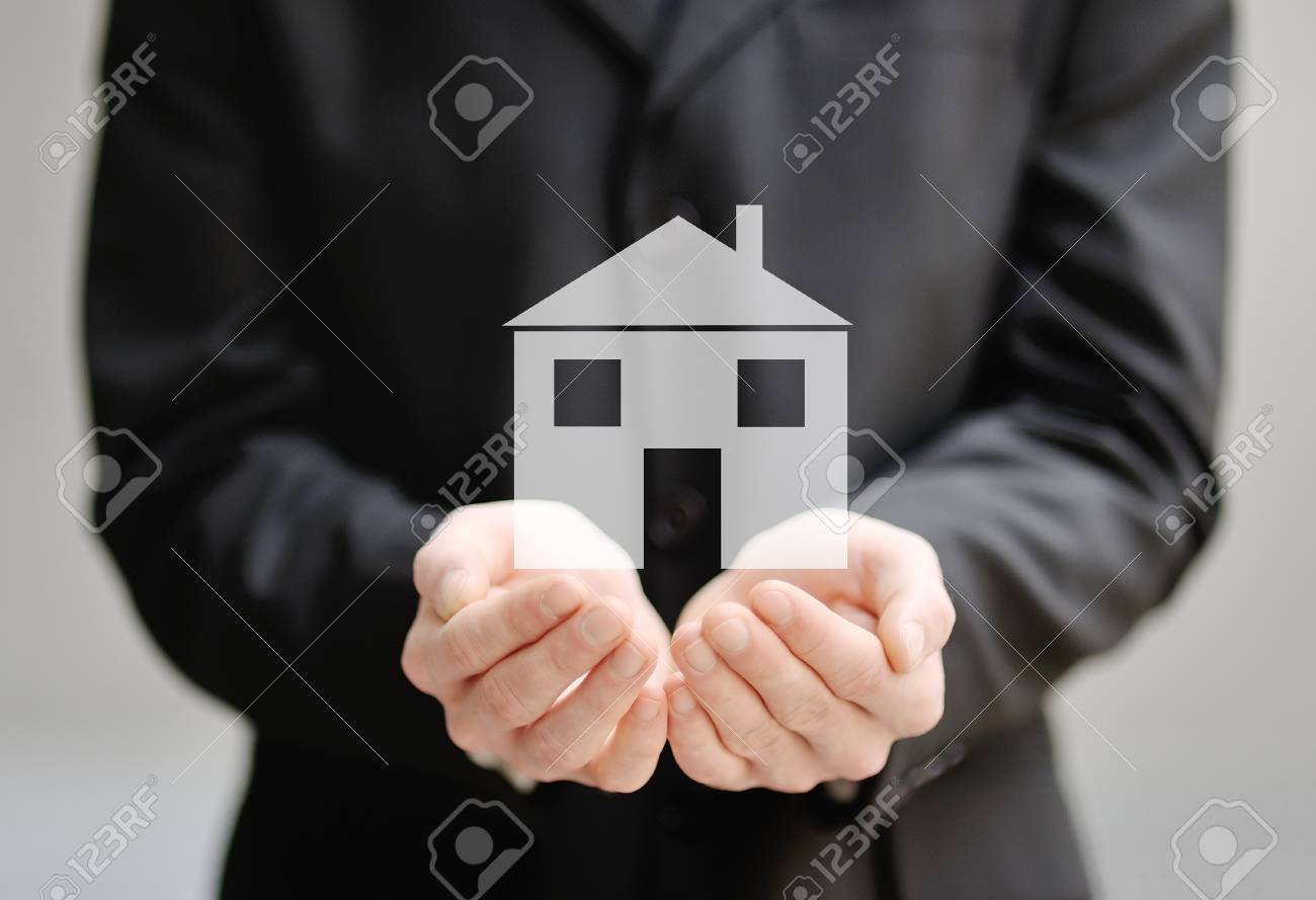 the hands of a man holding a house - insurance, security and protection concept - 29841439