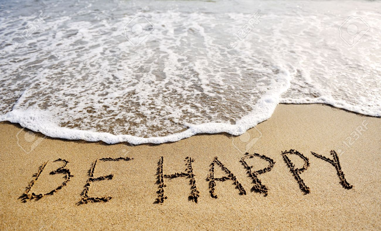 be happy words written on the sand of the beach - positive thinking concept - 30185127