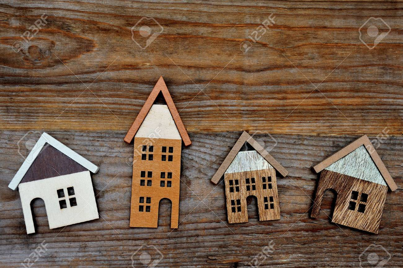 house on brown wooden background - 36250101