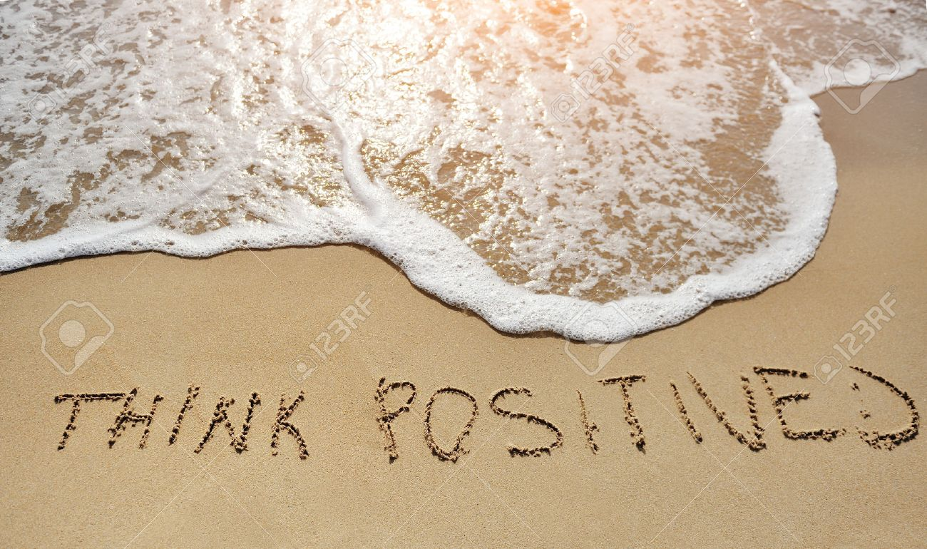 think positive written on the sand beach - positive thinking concept - 37704637