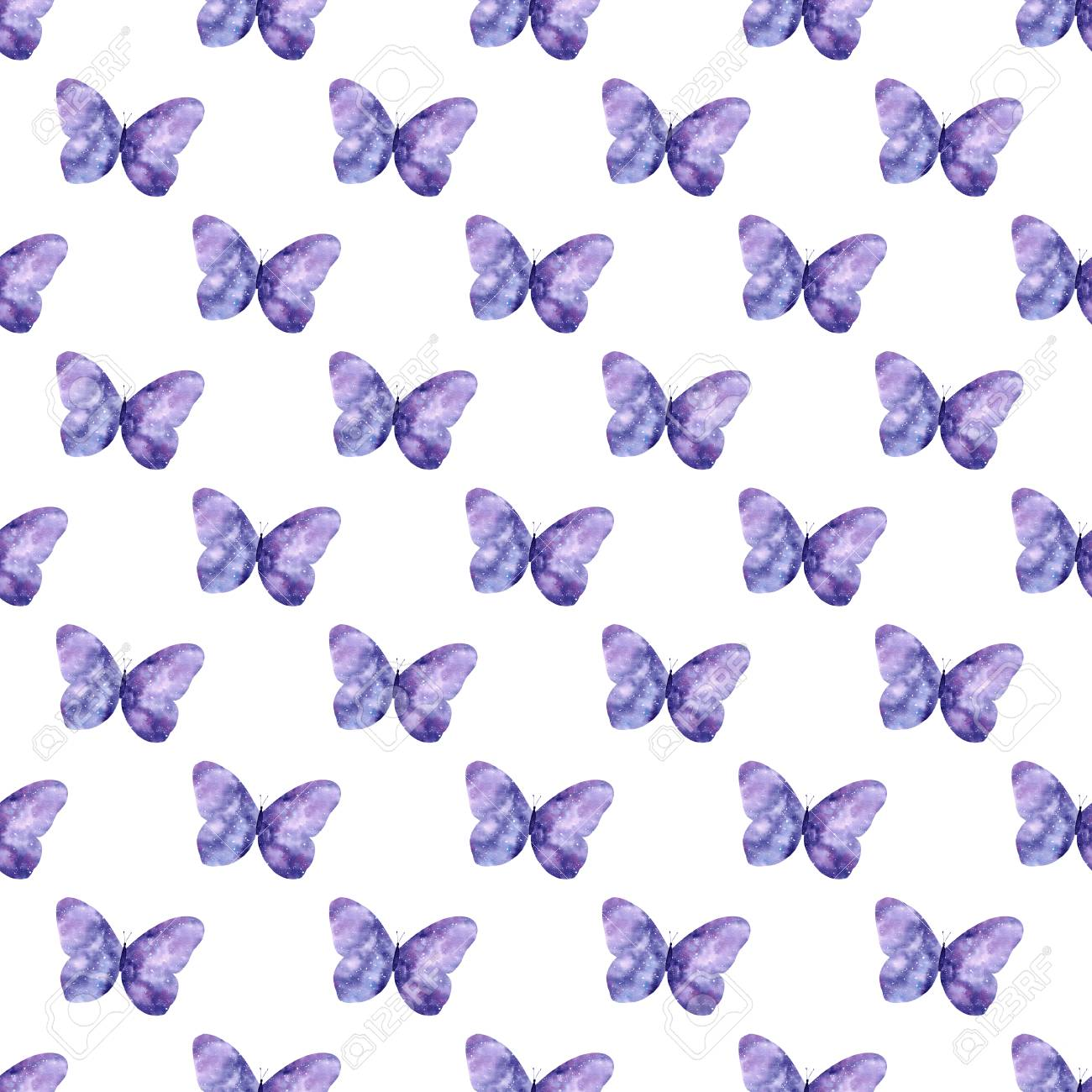 118994479 watercolor seamless pattern with bright galaxy butterflies cute decorative background wallpaper for