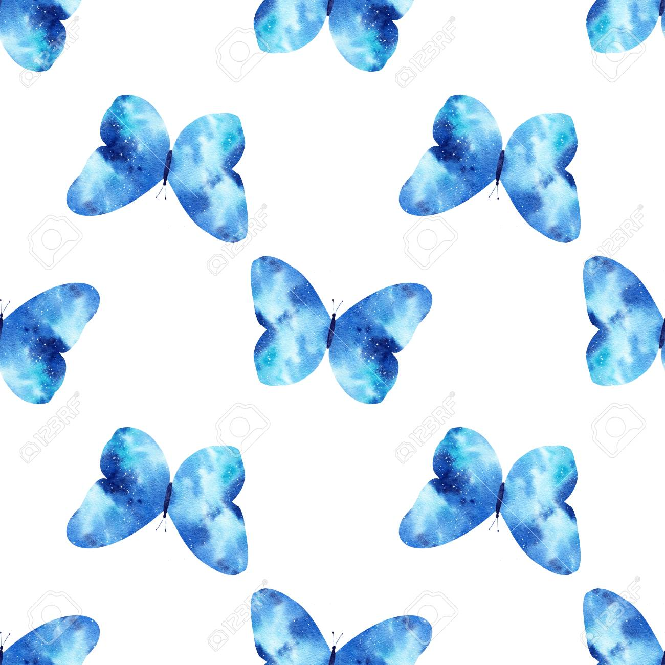 Watercolor Seamless Pattern With Bright Galaxy Butterflies Cute