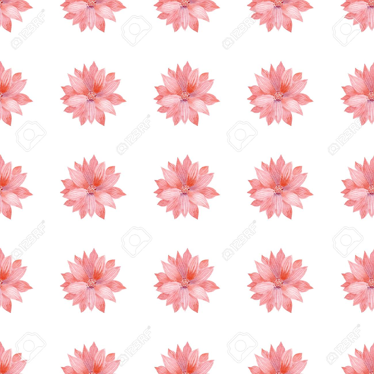 Watercolor Seamless Pattern With Coral Flower Cute Decorative