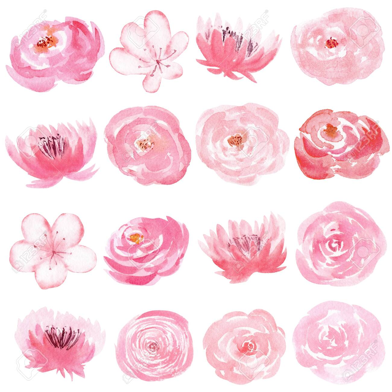 Set Of Hand Painted Watercolor Flowers In Pastel Pink Color Stock Photo Picture And Royalty Free Image Image 124479831