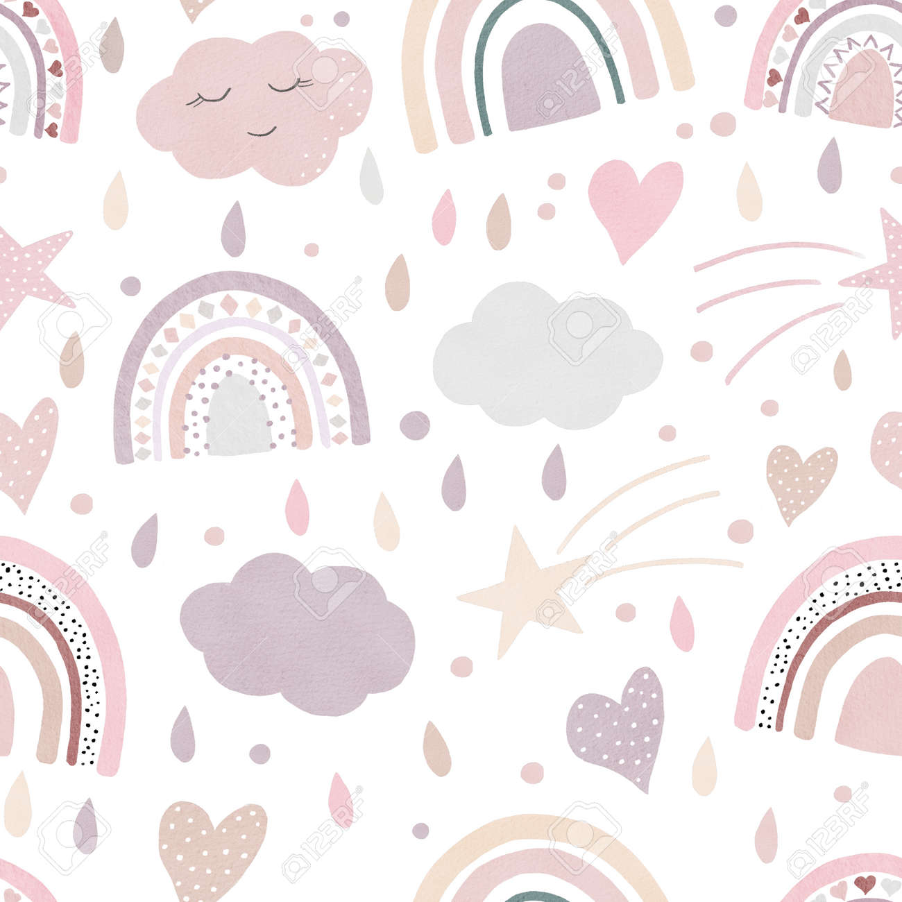 Watercolor hearts digital paper. Hand painted clipart. Seamless pattern isolated on white background. Perfect for love cards, decorations, scrapbooking, diy projects. - 166355053