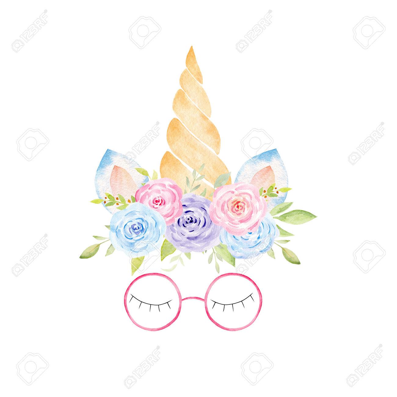Watercolor unicorn head. Hand painted clipart. Fantasy graphics for baby shower invitation, kids nursery decor, fabrics, textile. - 171458692