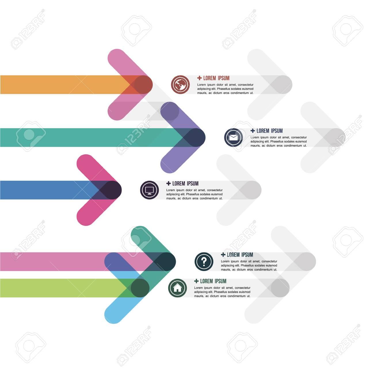 Diseño De Una Plantilla Con Flechas De Colores En Una Dirección ...