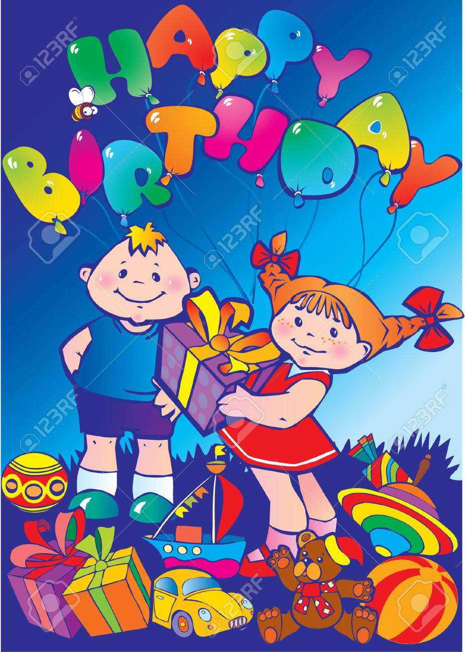 Happy children with birthday gifts Stock Vector - 4919275