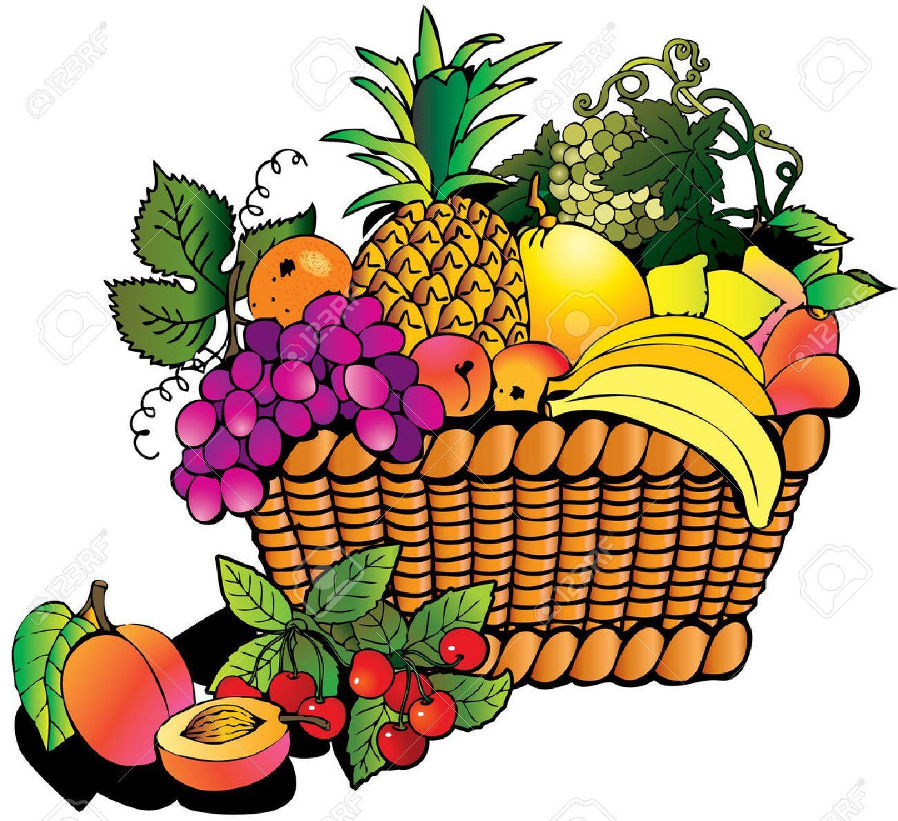Beautiful fruits with basket. Salubrious food. Stock Vector - 4919362