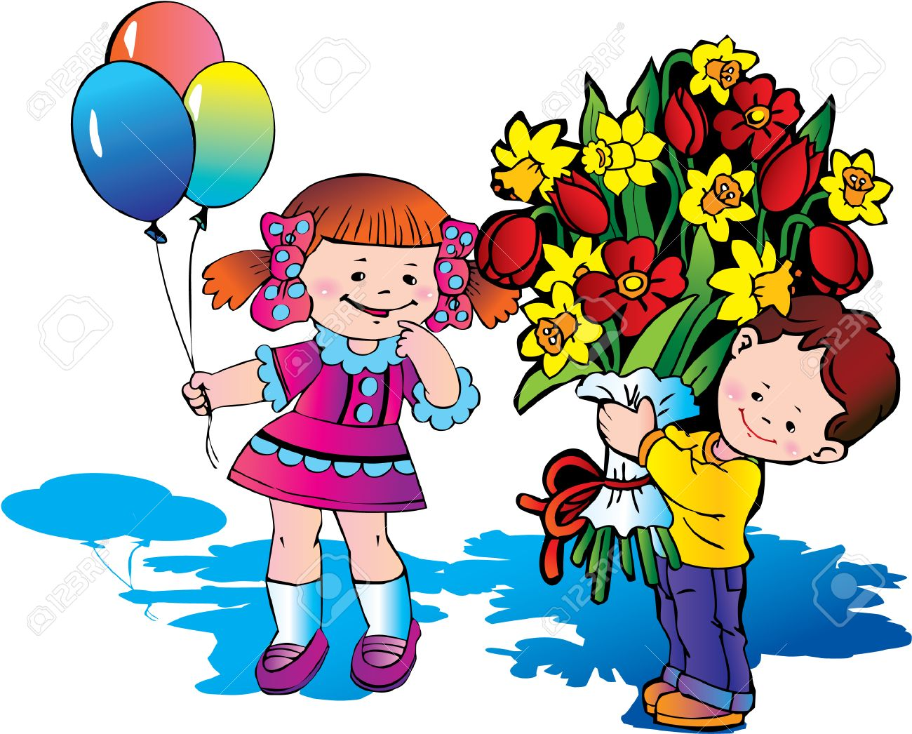 glad children with big bouquet of flowers happy childhood