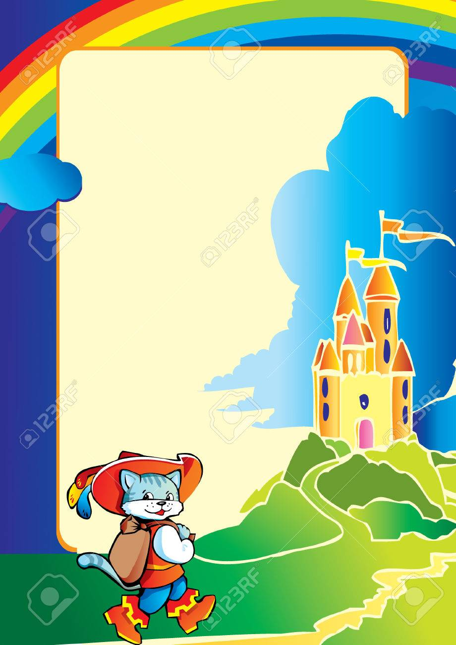 Puss in Boots comes to the castle on the way. Fairy-tale. Vector art-illustration. Stock Vector - 5374009