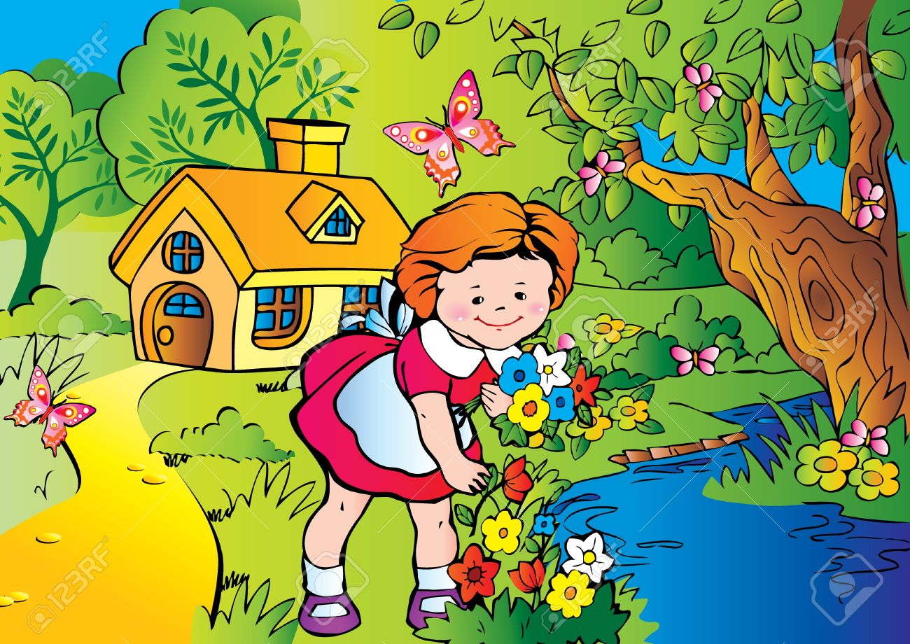 Fine little girl gather flowers. Happy childhood. Vector art-illustration. Stock Vector - 5374076