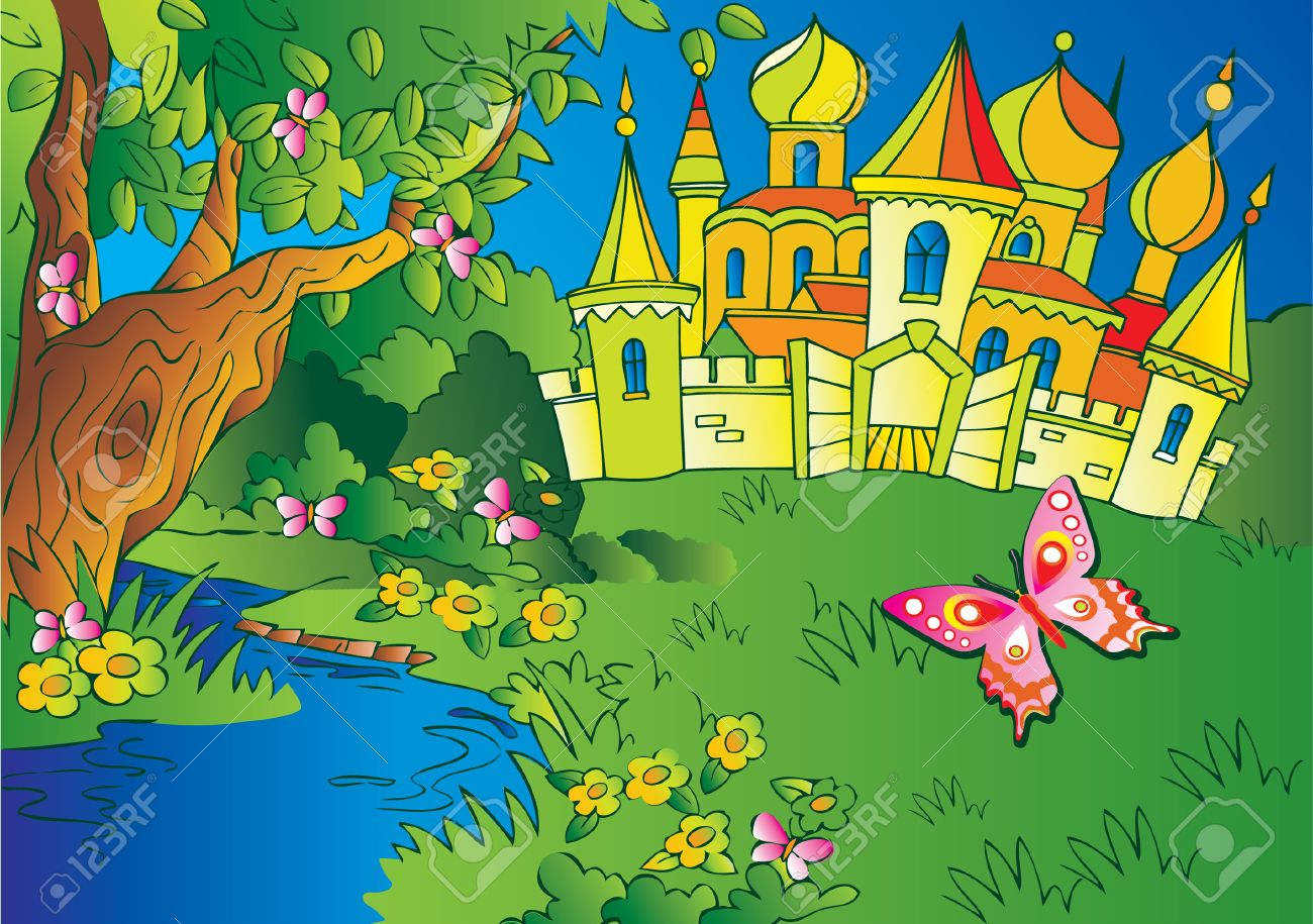 Beautiful  landscape with a castle and river. Fairy-tale. Vector art-illustration. Stock Vector - 5374143