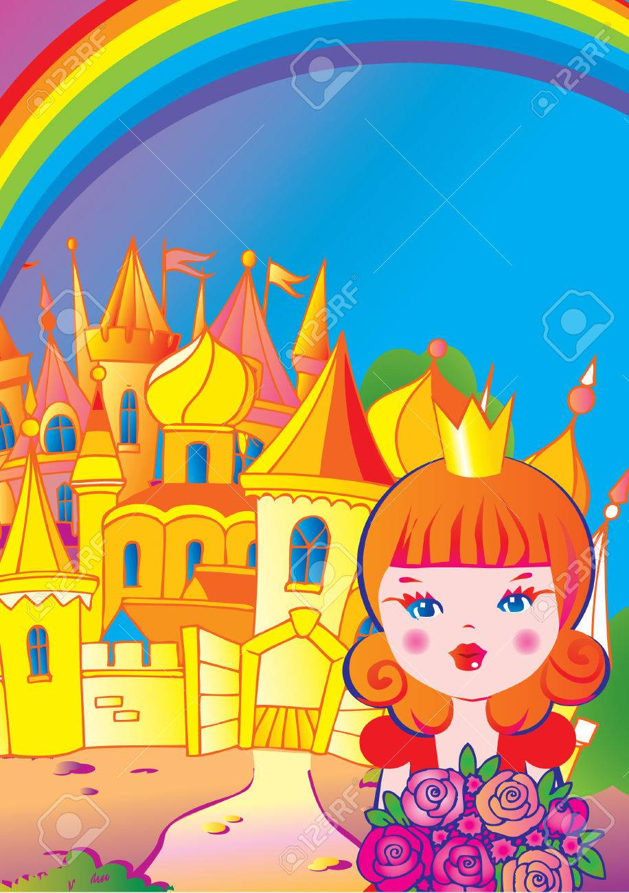 Beautiful princess with flowers on a castle background. Fairy-tale. Vector art-illustration. Stock Vector - 5374145
