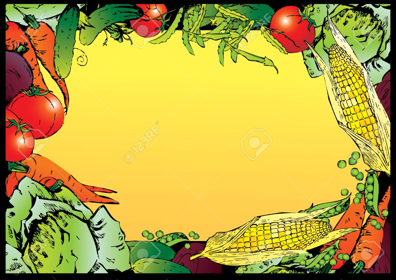 Collection of vegetables in the form of frame. Place for sample text. Vector art-illustration. Stock Vector - 5960446
