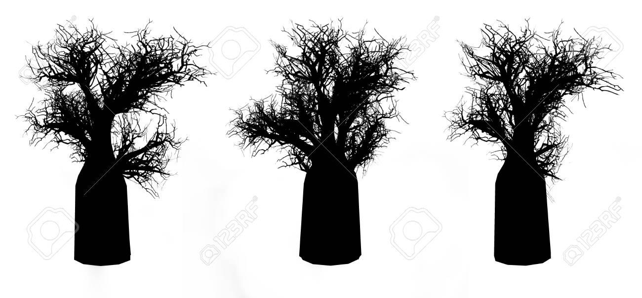 Silhouette of bottle treeson a white background. 3D art-illustration. Stock Illustration - 6015164