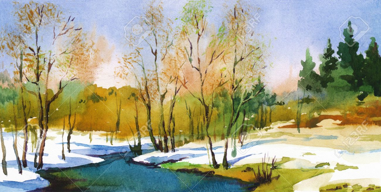 Spring Landscape In Sunny Weather Watercolor Art Illustration Stock