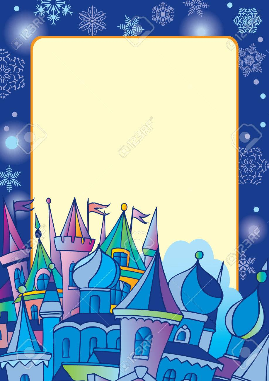 Christmas postcard with winter town. Vector art-illustration for Christmas and New Year. Stock Vector - 6148609