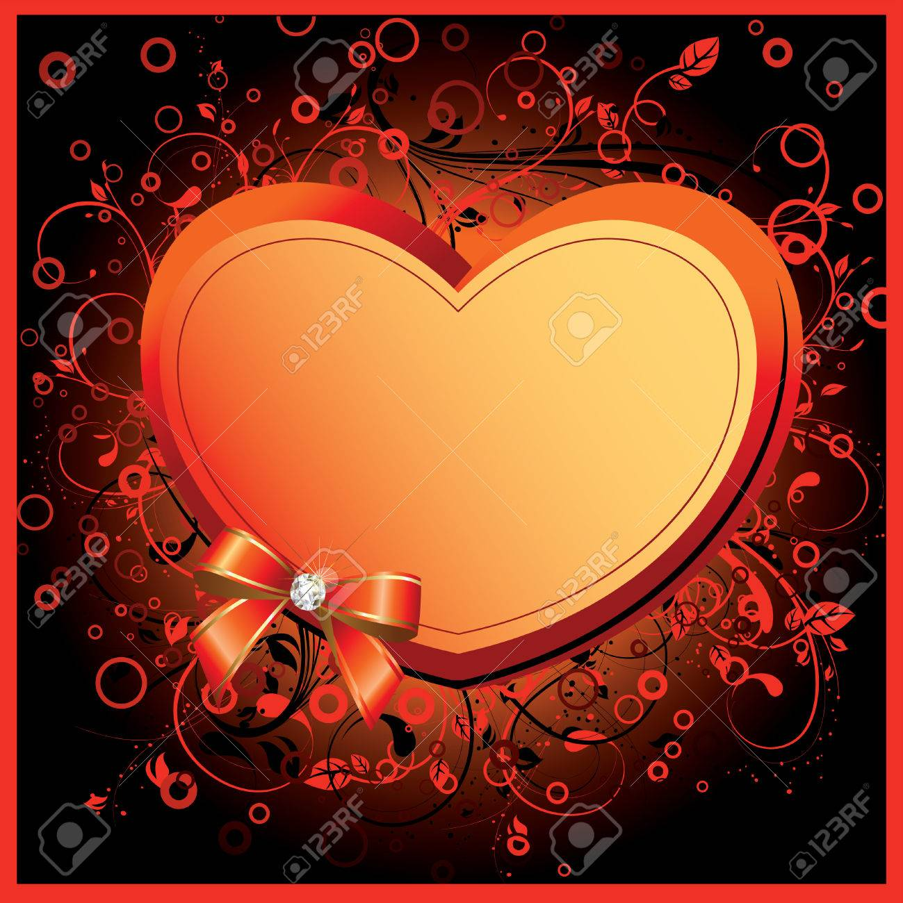 Heart on floral background. Valentine card. Place for your text. art-illustration. Stock Vector - 6532621