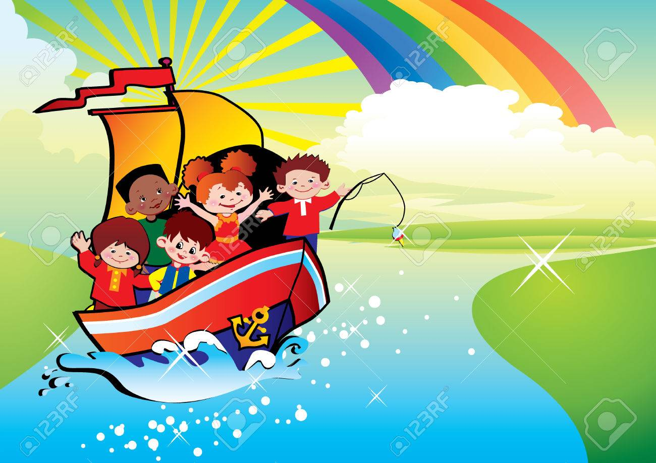 Children  floating by a boat. Happy childhood. art-illustration. Stock Vector - 6568416