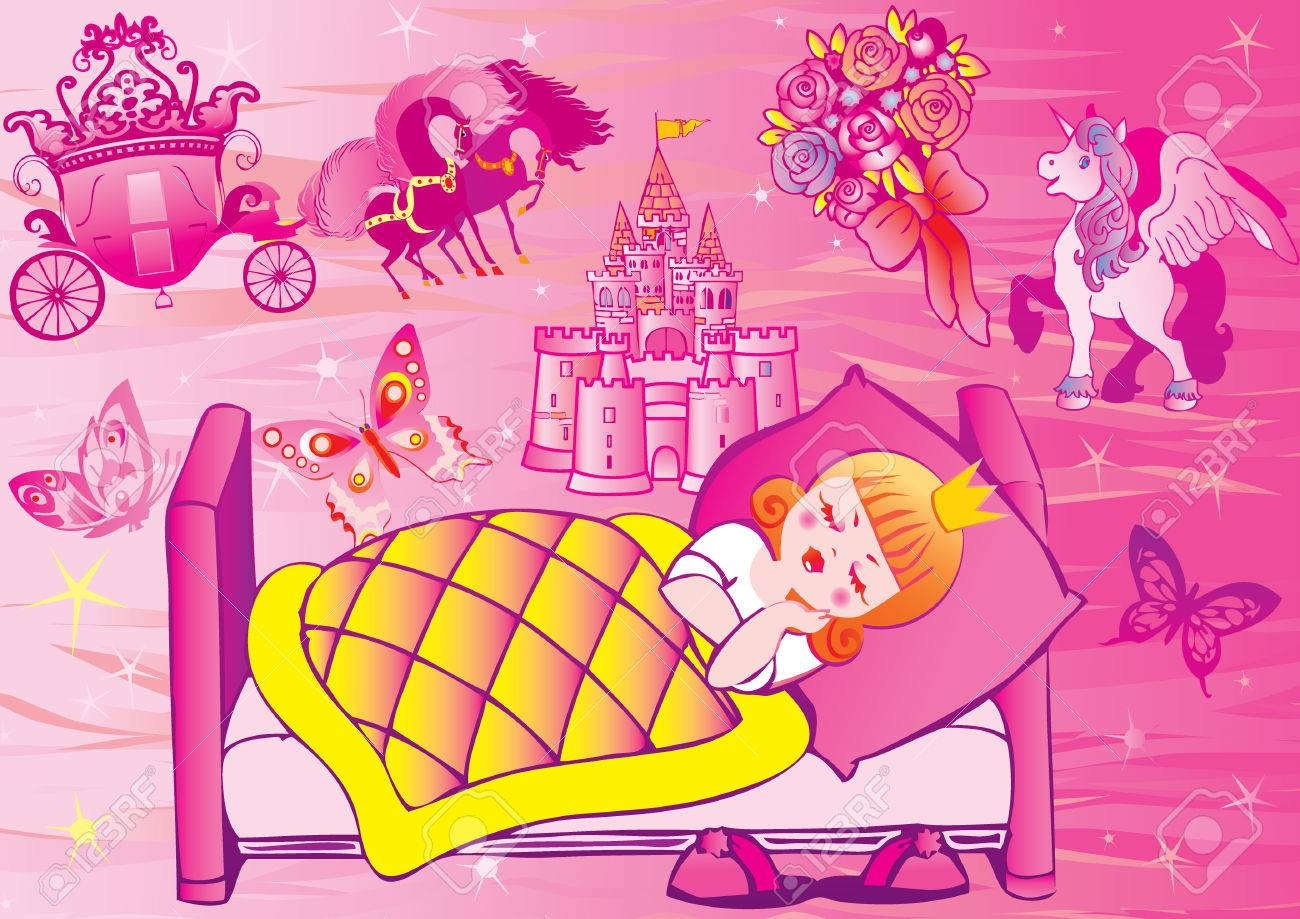 Princess sleeps in bed.  Fairy-tale. Stock Vector - 7002731
