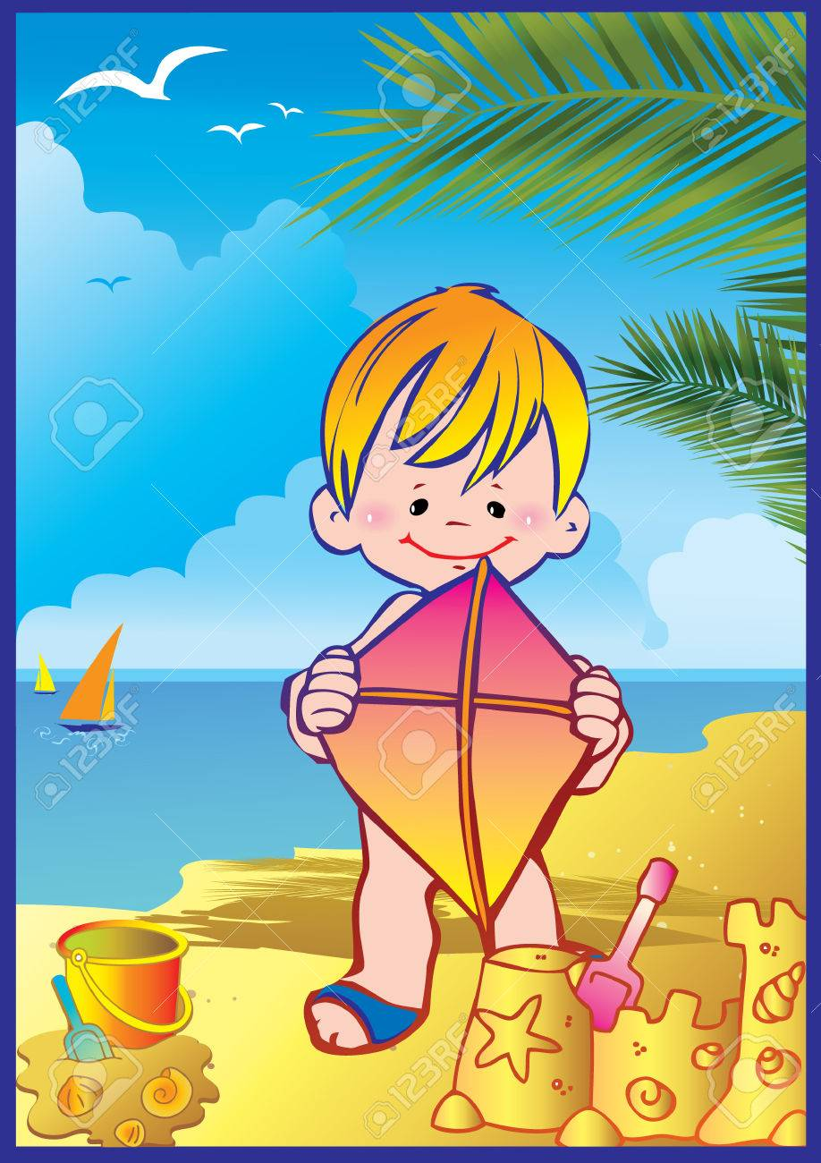 In holiday at the sea. A happy boy on the beach. Vector art-illustration. Stock Vector - 7256141