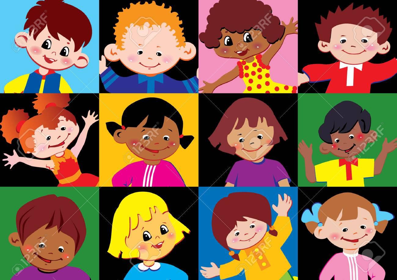 Portraits of the happy children of different nationalities. Vector art-illustration. Stock Vector - 7325034