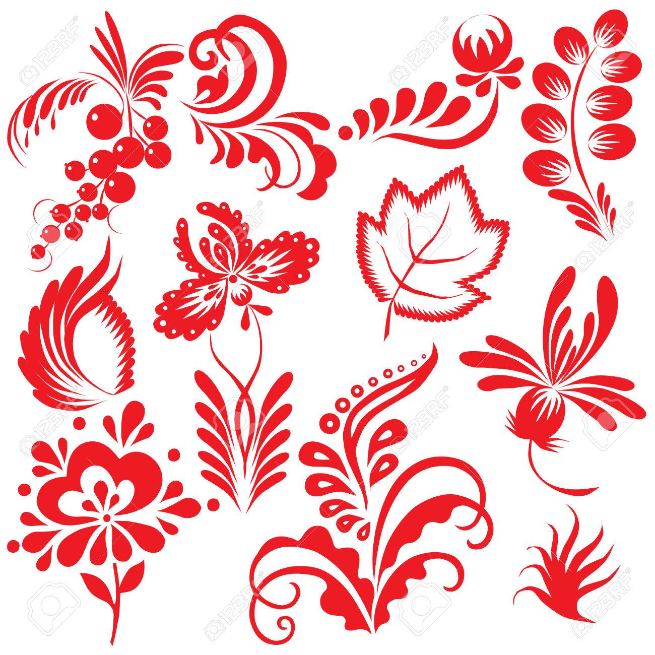 Floral collection. Vector art-illustration on a white background. Stock Vector - 7869560