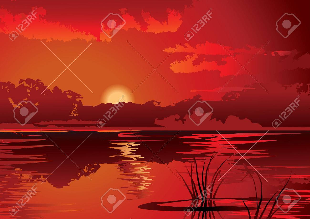 A beautiful sunset on the river.   art-illustration. Stock Vector - 8008931