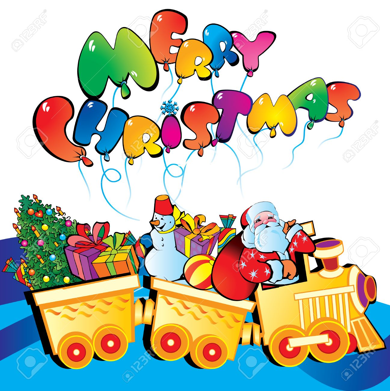 santa claus on a train with christmas gifts art illustration