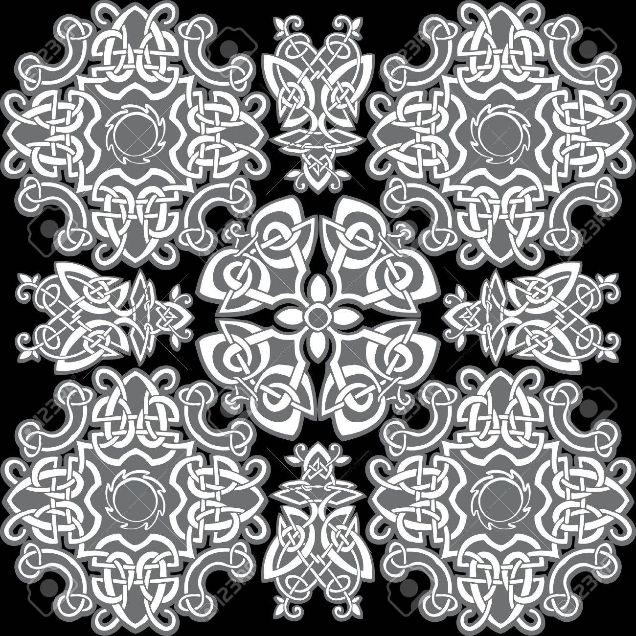 celtic vector ornamental pattern on a black background royalty