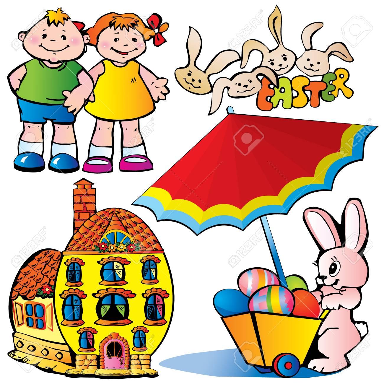 Easter set. Happy easter. Vector art-illustration on a white background. Stock Vector - 9379172