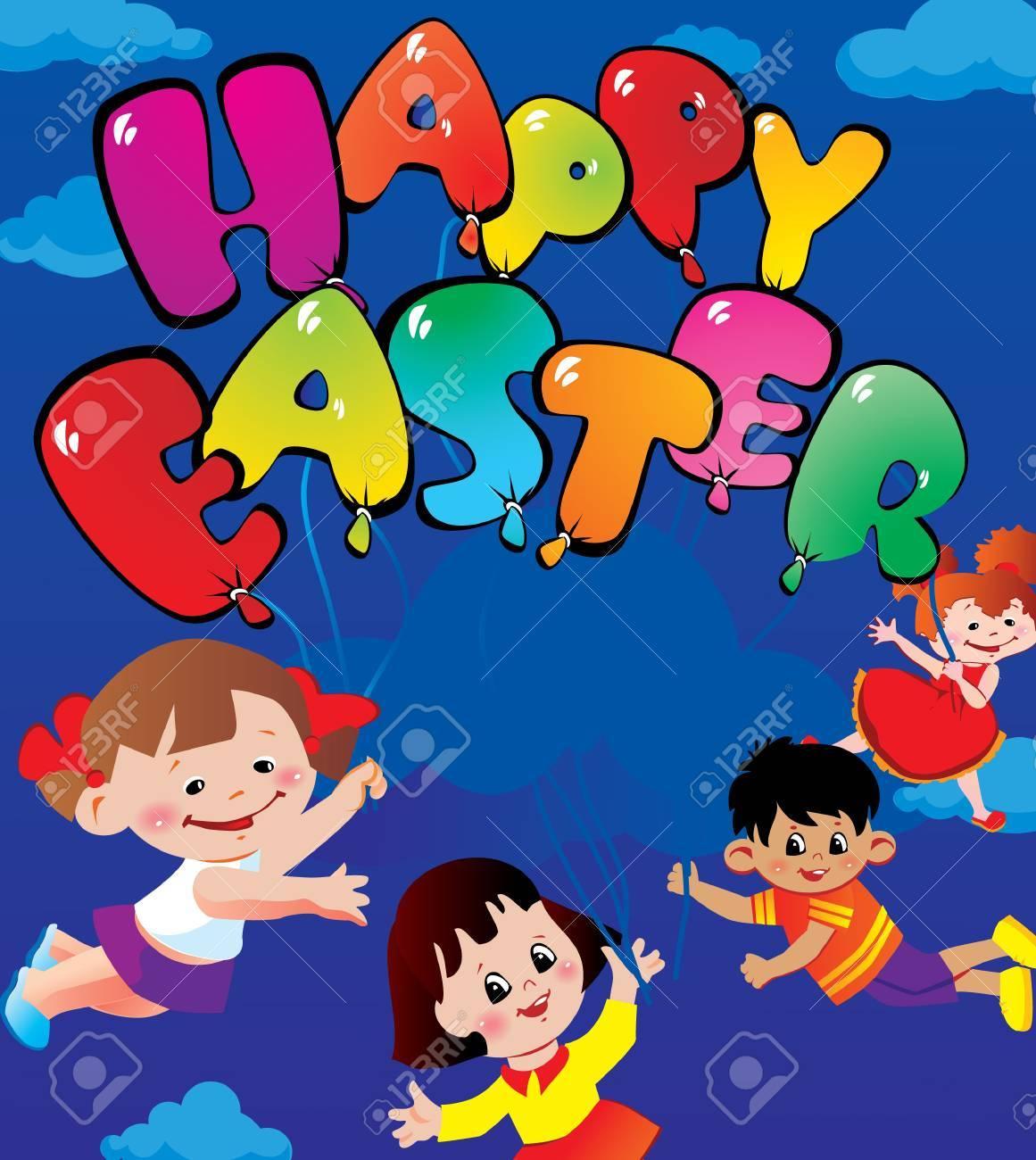 Children flying on balloons. Happy easter. Vector art-illustration for Easter. Stock Vector - 9385633