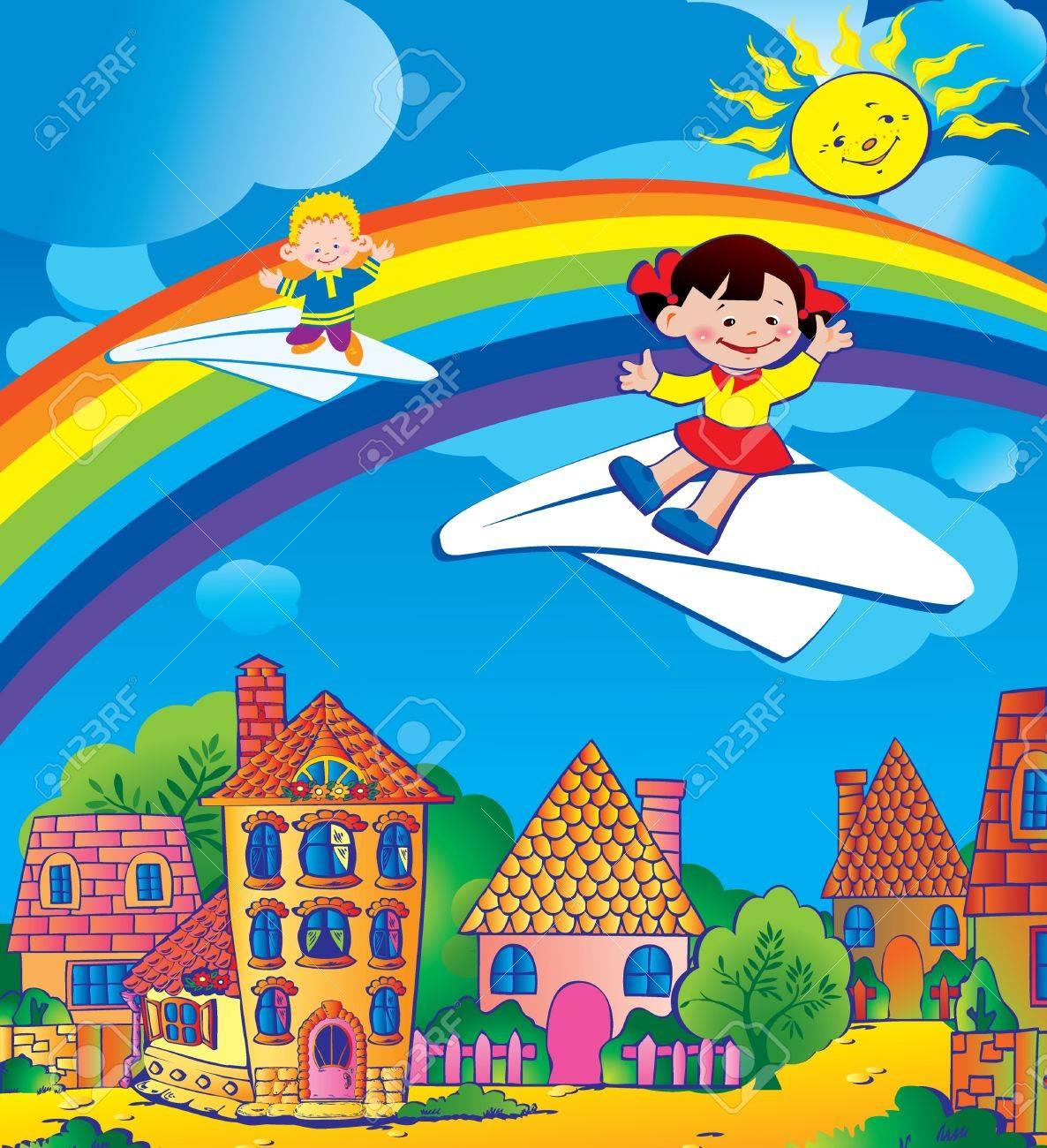 Children flying on a paper planes. Happy childhood. Vector art-illustration. Stock Vector - 9563024