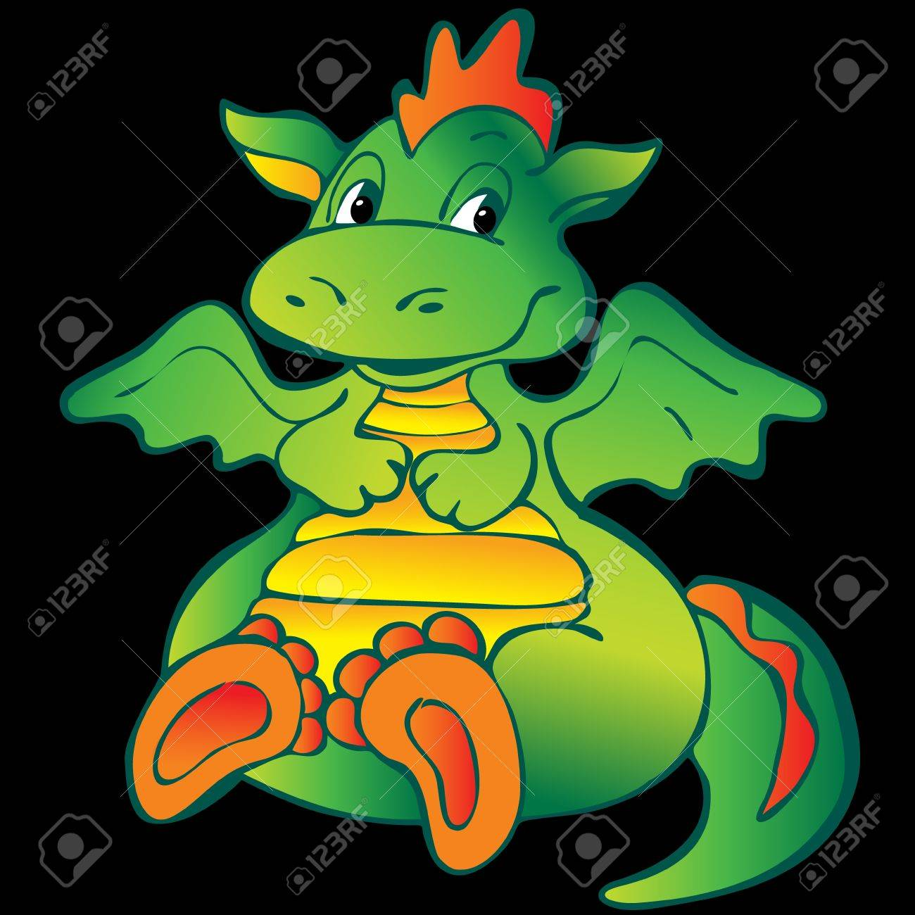 Baby dragon. Vector art-illustration on a black background. Stock Vector - 11597796