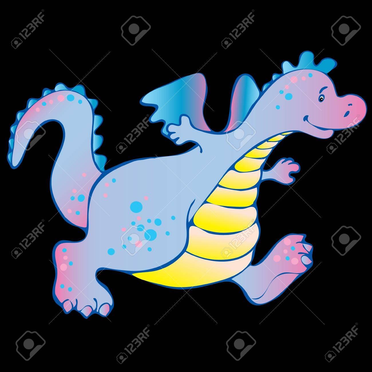 Baby dragon. Vector art-illustration on a black background. Stock Vector - 11597797