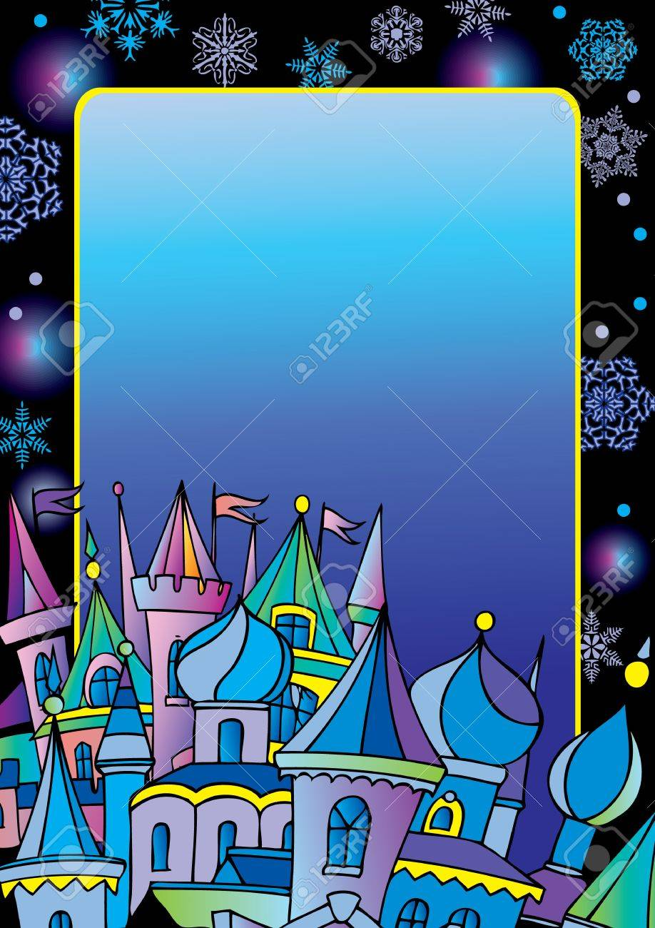 Christmas postcard with winter town. Vector art-illustration for Christmas and New Year. Place for your text. Stock Vector - 11597825