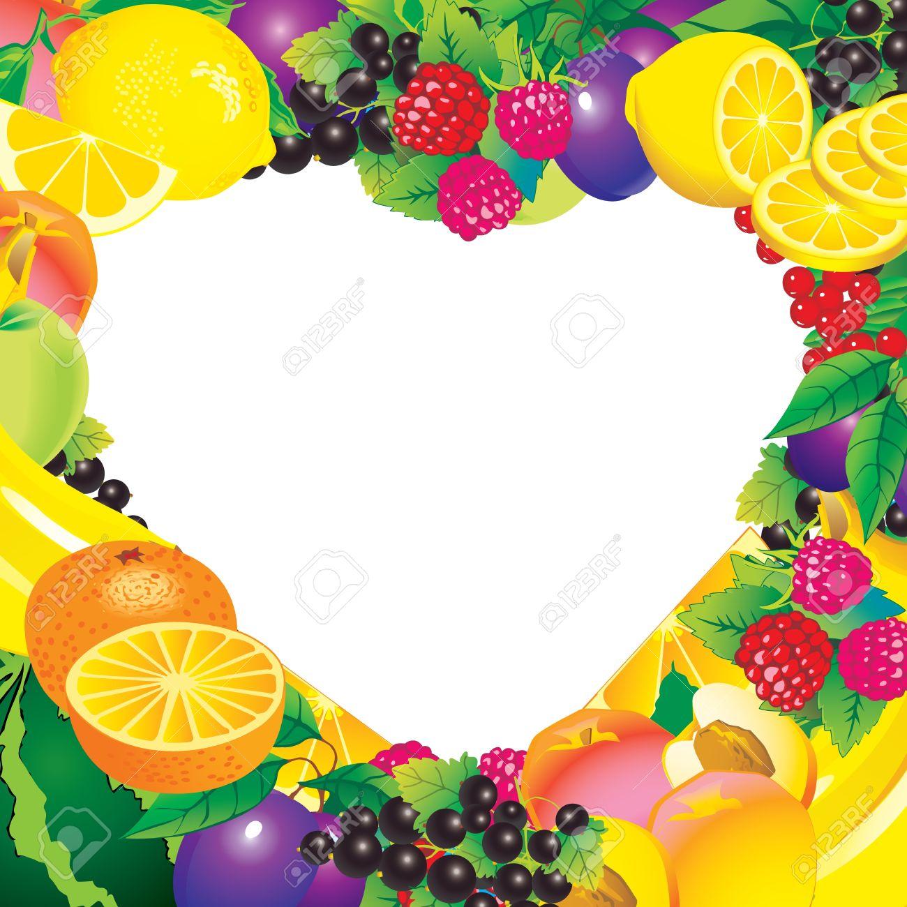 Frutas Marco En Forma De Corazón Por Su Lugar De Alimentos ...